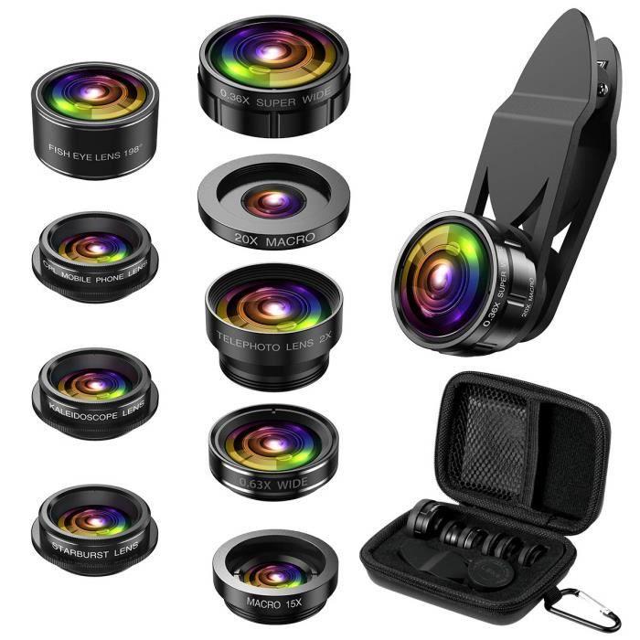Universal Kit de Lentille de caméra Objectifs téléphone,9 in 1 Cell Phone Lens Kit, Zoom Lens