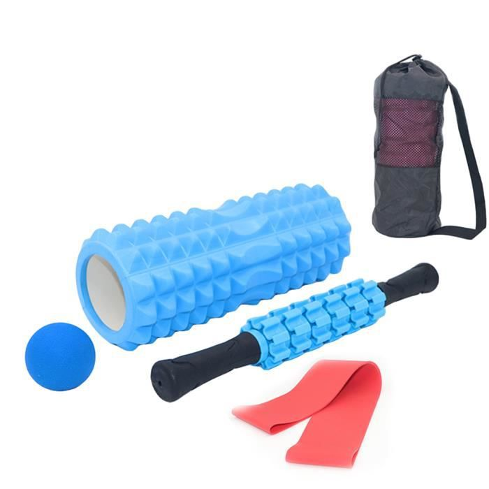 5 pcs Tissue Fitness Mousse Rouleau De Massage Balles Résistance Bande Sac de Transport pour Fitness Yoga Pilates -Bleu