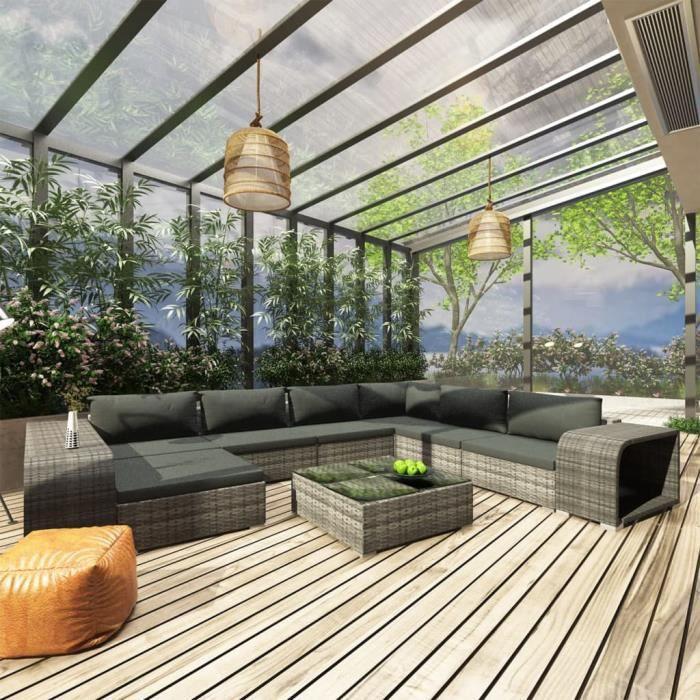 INGSHOP© Salon de jardin 10 pcs avec coussins Résine tressée Gris