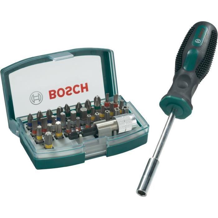 Jeu d'embouts 32 pièces Bosch Promoline plat, cruciforme Phillips, cruciforme Pozidriv, 6 pans intérieurs, Torx, Torx B