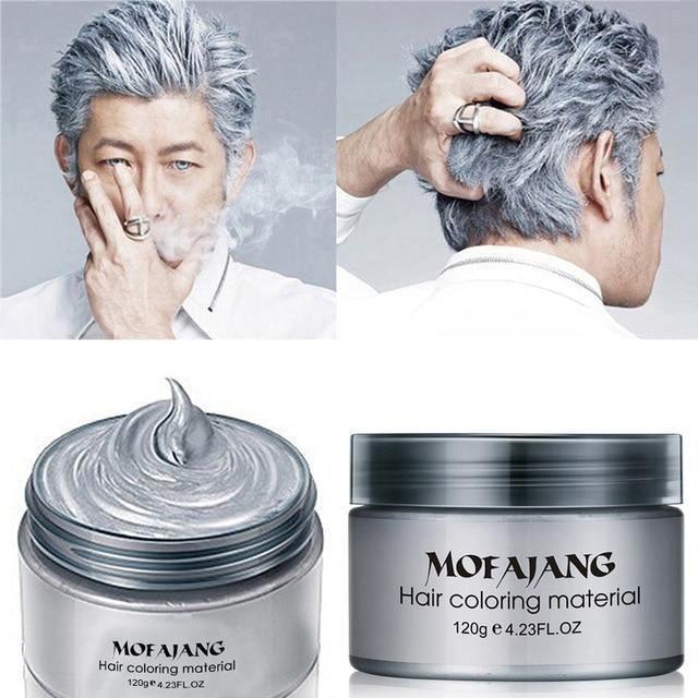 [chine/gris] Coiffure à la cire capillaire - teinture temporaire gris argenté jetable, célèbre la crème de boue colorante