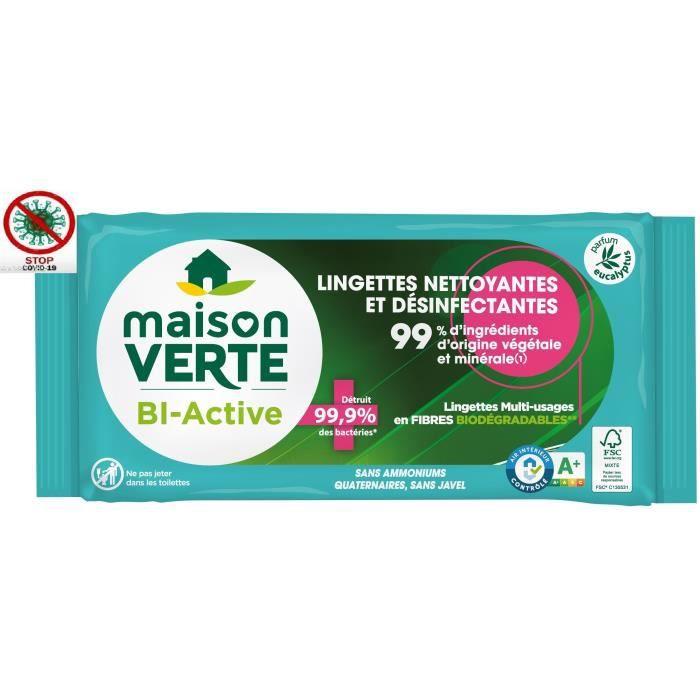 MAISON VERTE Lingettes nettoyantes et désinfectantes - Le paquet de 70 lingettes