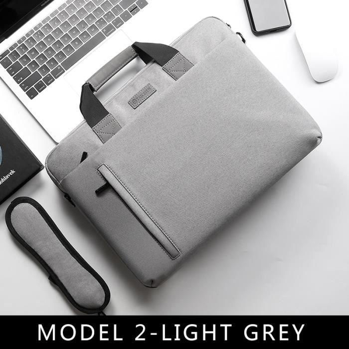 Sac étanche pour ordinateur portable, pour pc de 13,3, 14, 15,6 et 17,3 pouces, sacoche d'épaule -15 15.6inch MODEL 2-LIGHT GREY