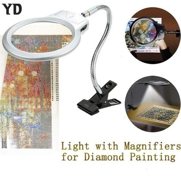 Clip-sur LED de table 4X / 6X loupe verre avec pince Clip Lampe de bureau loupe Design lumineux Dimmable luminosité Agjustable
