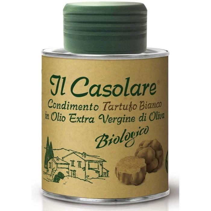 Il Casolare - Huile Biologique de Truffe Blanche (100 ml) - Huile d'olive Extra Vierge non filtrée pressée à froid - Essence de Truf