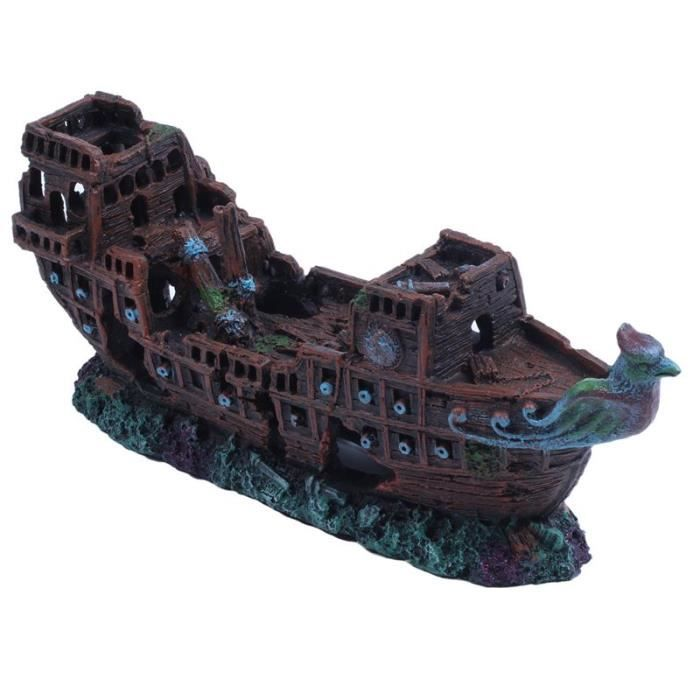 Décoration - aquarium,Épave d'aquarium décoratif en résine, bateau de croisière, pour poisson - Type Black-S