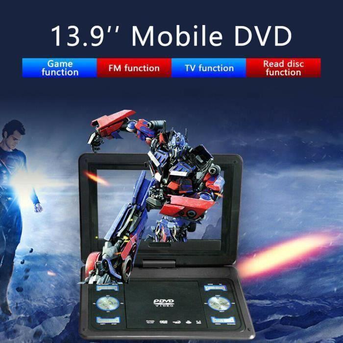 USLION Lecteur DVD portable-270 ° Écran rotatif 10.1- Noir, Lecteur mobile, 13,9 lecteur DVD portable HD standard européen noir