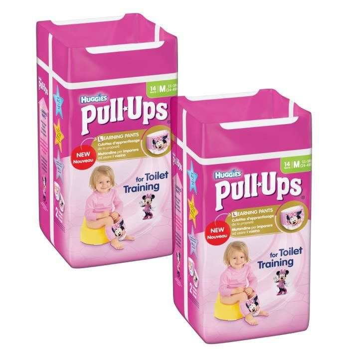 Lot de 2 HUGGIES Pull-Ups Girl Taille 5 - De 11 à 18kg - 14 couches