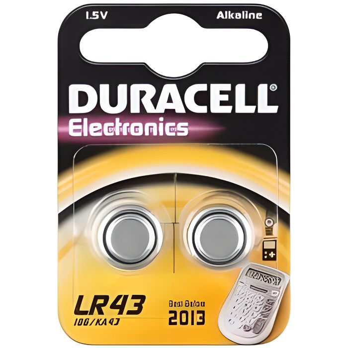 Piles Duracell boutons alcaline 2x LR43