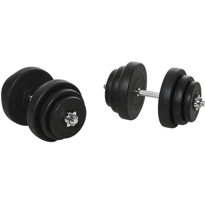 Ensemble d'haltères courtes total 36 Kg - barres incluses - entraînement musculaire & haltérophilie - acier HDPE noir