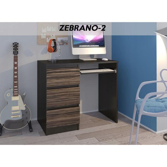 YORK 2WL- Bureau moderne informatique d'ordinateur 96x50x76 - Chambre Ado - Support clavier-3 tiroirs - Wengé-Zebrano