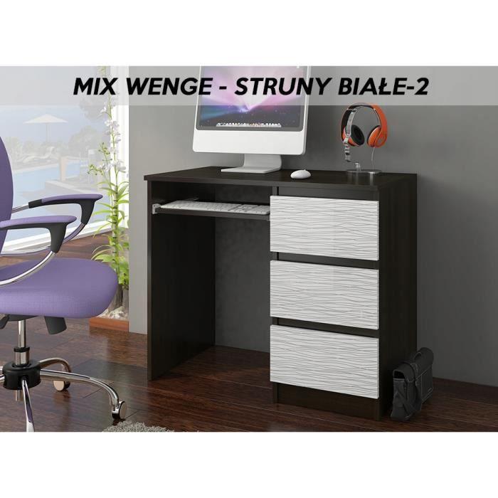 YORK 2WR- Bureau moderne informatique d'ordinateur 96x50x76 - Support clavier-3 tiroirs - Wengé Blanc