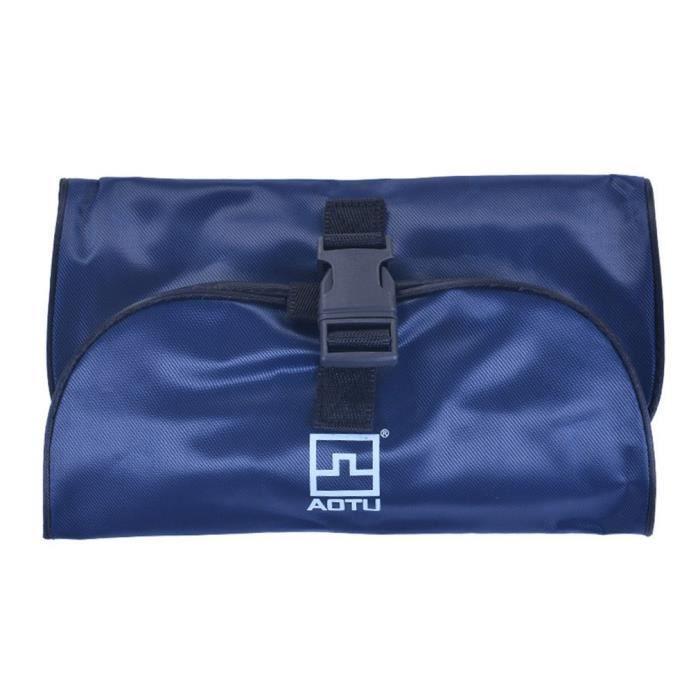 Trousse de toilette de beauté de voyage de sacs à cosmétiques pliables imperméables de femmes, bleu marine