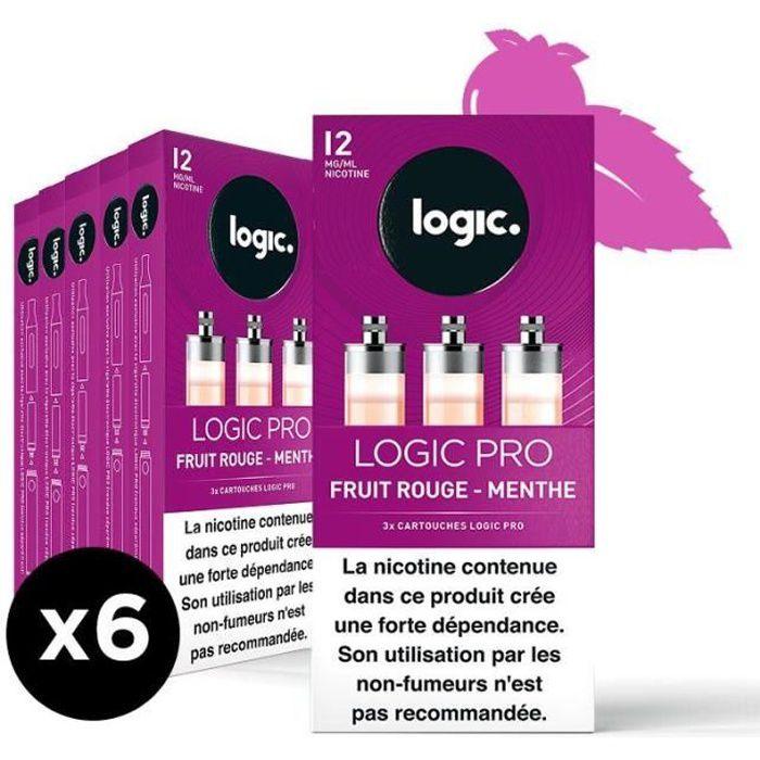 Logic PRO - Goût Fruit Rouge menthe - 12 mg - 6 packs de 3 cartouches d'e-liquide.