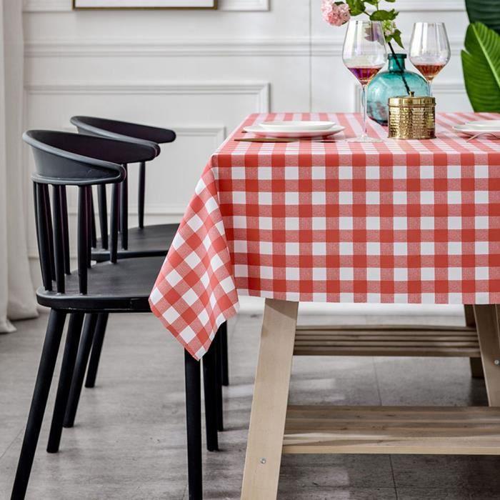 Nappe à Carreaux,Nappe de Table Carrée en PVC Impermeable Essuyable Anti Tache Tissu de Table,Style S-120x120cm