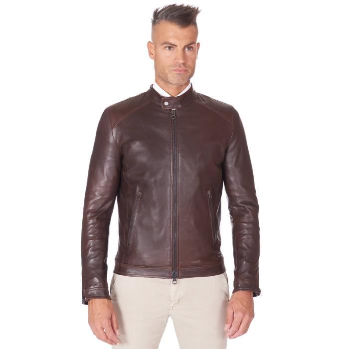 Blouson cuir marron foncé veste moto cuir naturel mao collar
