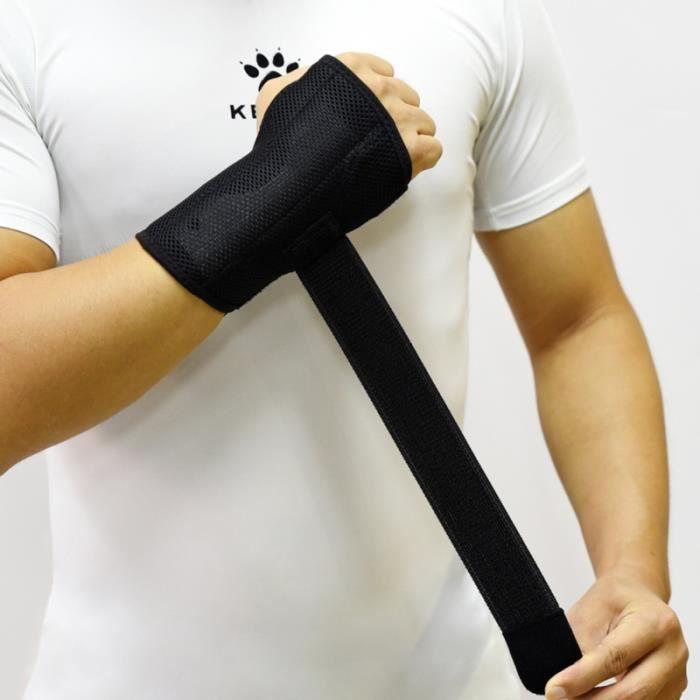 Attelle de poignet de soutien de respirante durable réglable noire 1PC pour la tendinite de soulagement de douleur