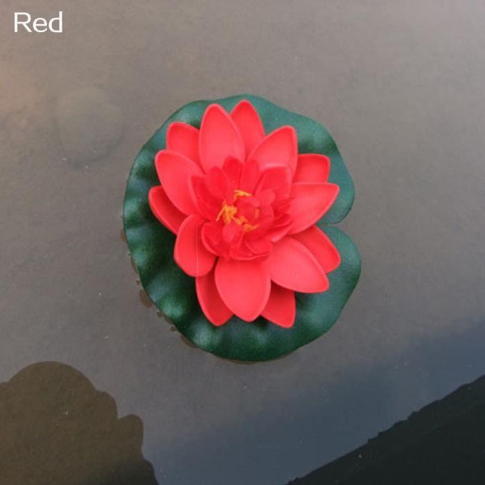 Nénuphar Artificiel Fleur Flottante Lotus Maison Jardin Étang Fish Tank Décor type Rouge
