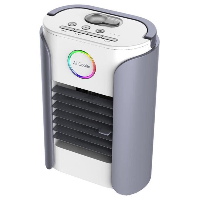 Rafraichisseur d'air Mobile Climatiseur Ventilateur Cooler Portable - USB Radio FM - 3 Vitesses Bluetooth Chargable