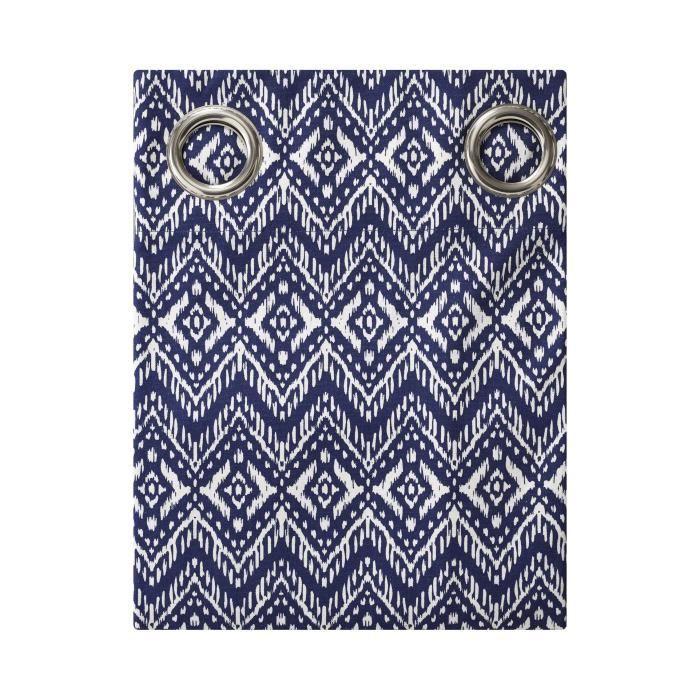 TODAY Rideau Imprimé CYCLADES 140x240 100% coton Bleu et blanc