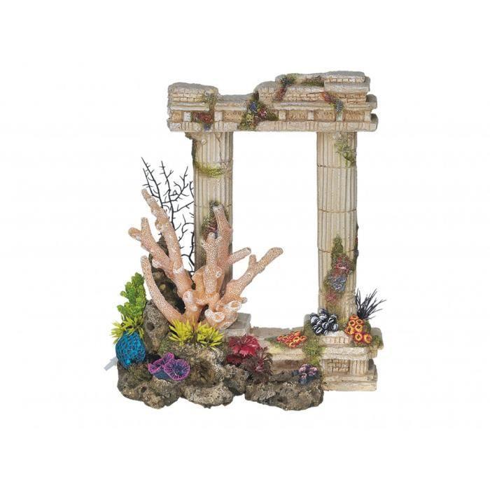 Décoration 2 Colonnes antiques grecques. 29.5 cm. aquarium.-Vadigran 30,000000