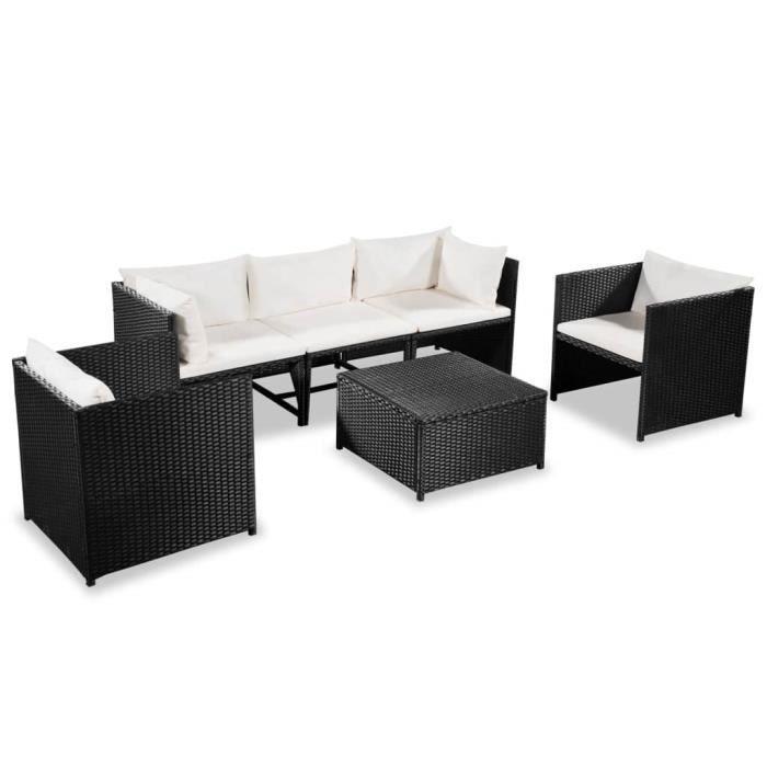 Mobilier de jardin 18 pcs Résine tressée Noir - blanc crème - Meubles/Meubles de jardin/Ensembles de meubles d'extérieur - Noir -
