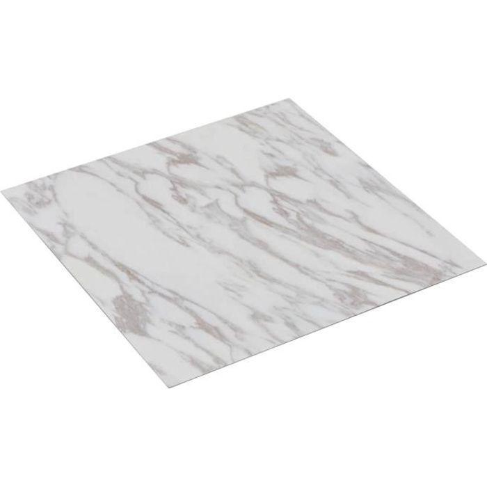 vidaXL Planche de plancher PVC autoadhésif 5,11 m² Blanc Marbre