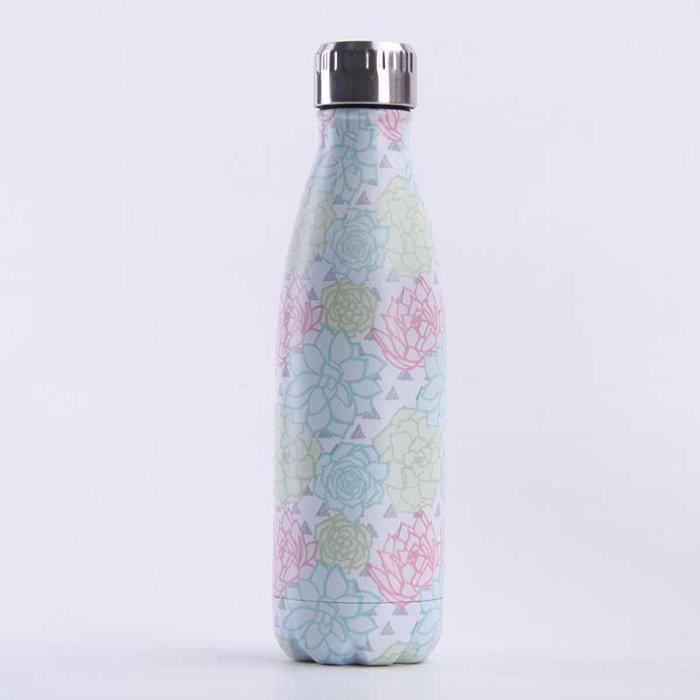 Bouteille d'eau en Acier Inoxydable Fleur Imprimé Thermos 500ml Double Paroi Isolée sous Vide Gourde Isothermes - Style 76
