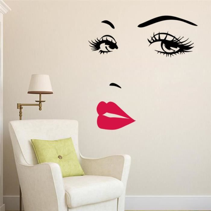 Fille sexy l vres yeux stickers muraux salon chambre - Stickers muraux salon ...