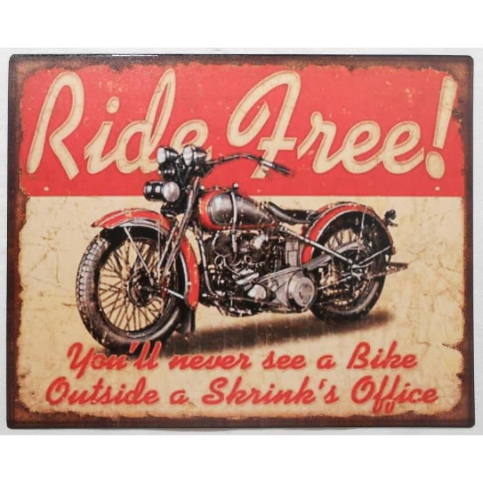 Plaque d corative en m tal ride free 20x25 cm achat for Plaque murale decorative metal