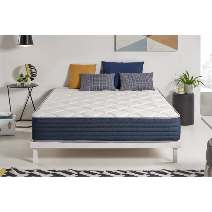matelas aura 180x200 cm 2 faces m moire blue latex 25. Black Bedroom Furniture Sets. Home Design Ideas