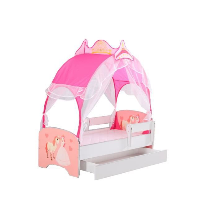 lit enfant princesse avec baldaquin princesse matelas sommier barri res anti chutes achat. Black Bedroom Furniture Sets. Home Design Ideas