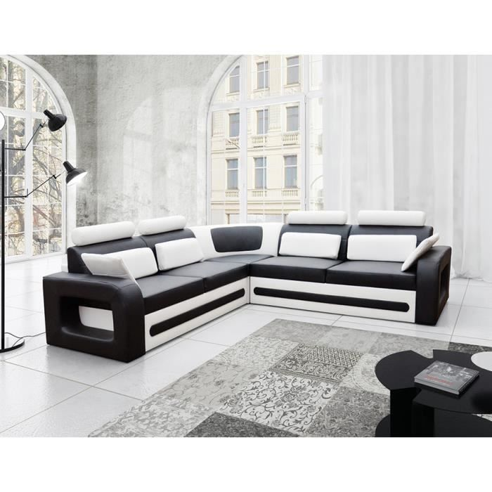 canap d 39 angle convertible noir et blanc avec coffre en pu aglibo noir blanc achat vente. Black Bedroom Furniture Sets. Home Design Ideas