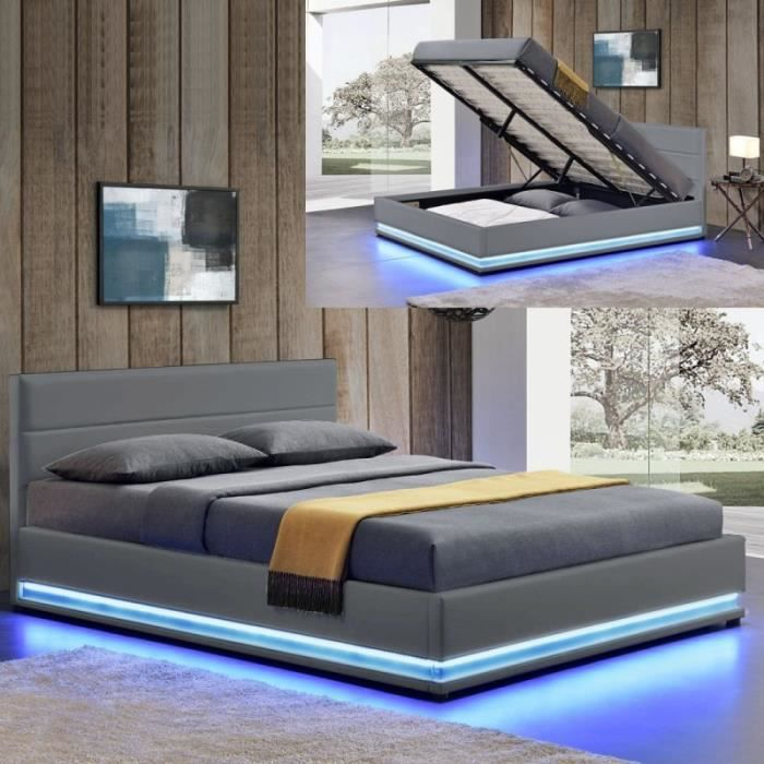 lit led avec coffre de rangement ava 160x200 gris. Black Bedroom Furniture Sets. Home Design Ideas