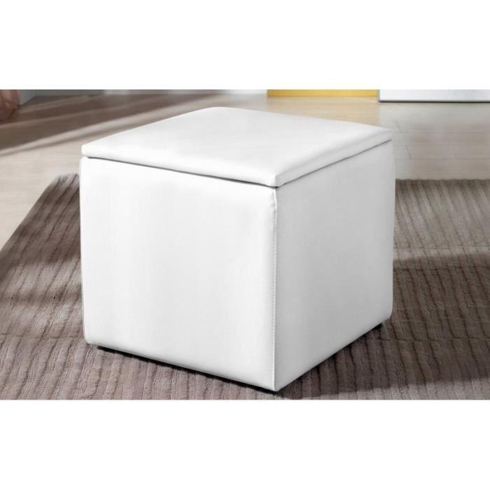 Pouf Coffre Square Couleur Blanc Achat Vente Pouf Poire Cdiscount