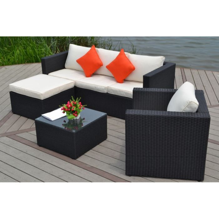 Salon de jardin en resine tressee 5 places milano achat vente salon de jardin salon de - Table salon de jardin resine tressee ...