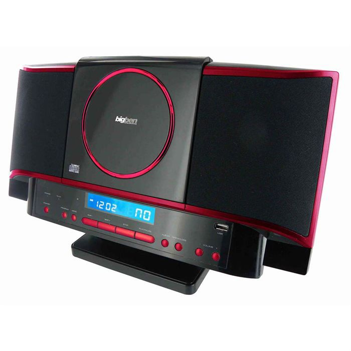 micro chaine radio cd mp3 usb rouge noir chaine hi fi. Black Bedroom Furniture Sets. Home Design Ideas