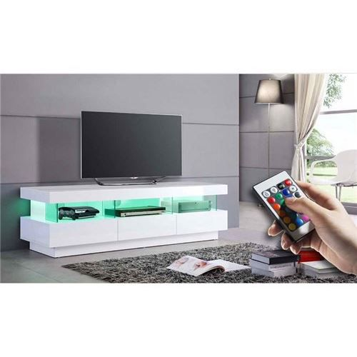 Meuble tv a led blanc tonni achat vente meuble tv for Meuble tv led