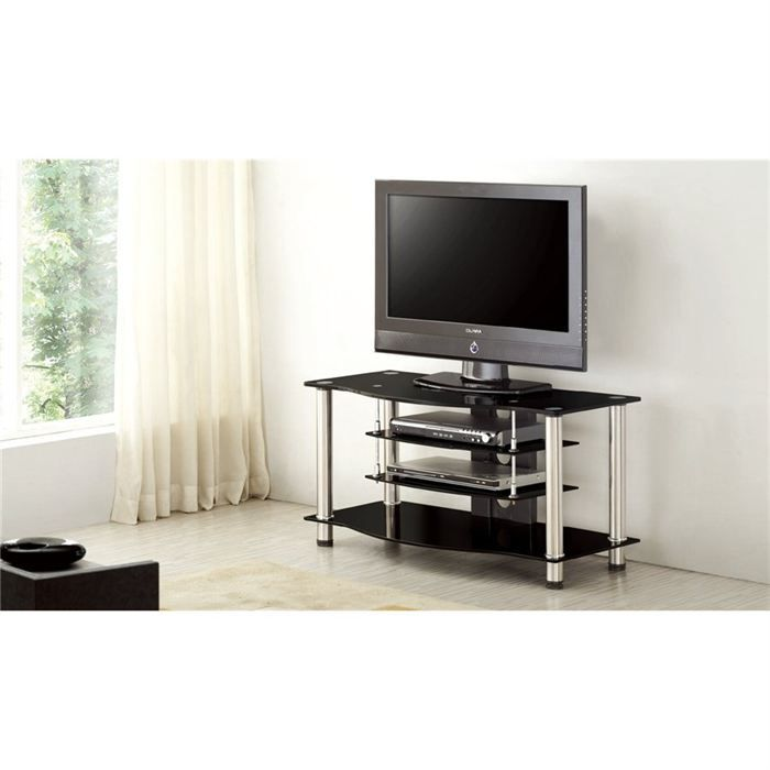 meuble tv design verre noir et support alu lazio achat. Black Bedroom Furniture Sets. Home Design Ideas