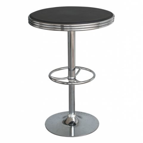 Table de bar america design noir et chrome achat vente for Achat table bar