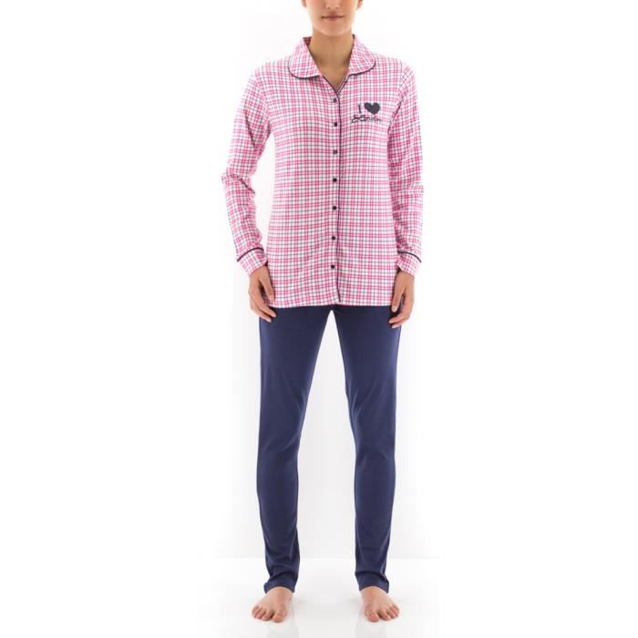 Pyjama long femme i love london carreaux indigo carreaux for Pyjama carreaux