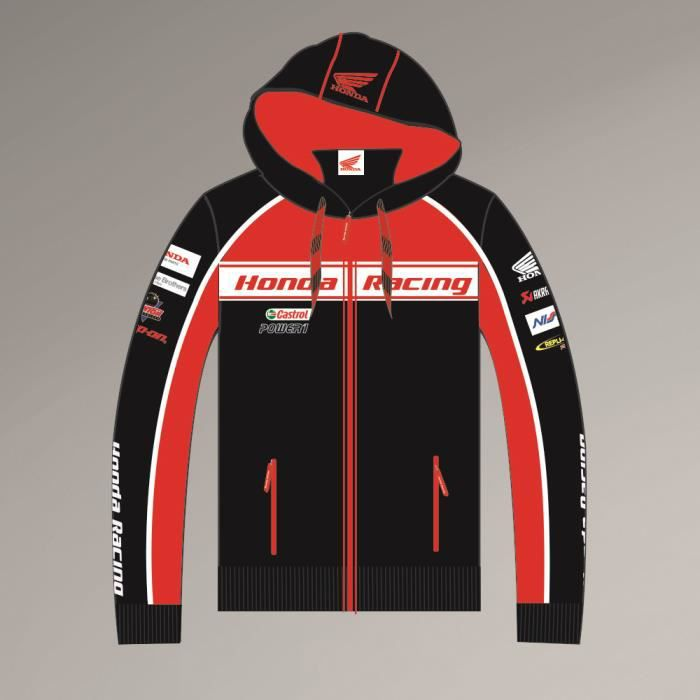 veste a capuche hoodie sweat officiel honda racing endurance cbr noir noir rouge blanc. Black Bedroom Furniture Sets. Home Design Ideas