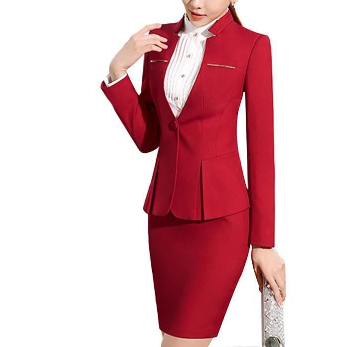 Costume Femme Marque Luxe Veste Jupe de costume ENSEMBLE slim Rouge