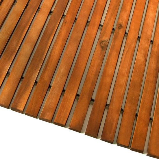 Tapis de bain anti-dérapants pieds en caoutchouc bois d/'acacia huilé résistant