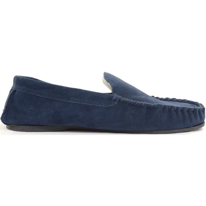 Mens Berber Fleece Lined Moccasin Slipper With Non-slip Rubber Sole P7ISR Taille-39
