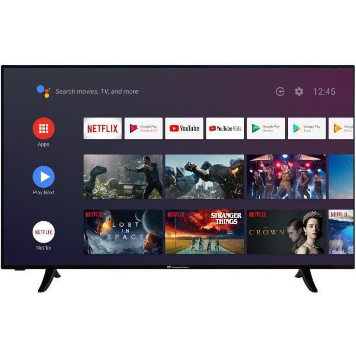 CONTINENTAL EDISON Android Smart TV LED 4K UHD - 55-(139cm) - HDR 10 -WiFi - Bluetooth - HDMIx4 - USBx2