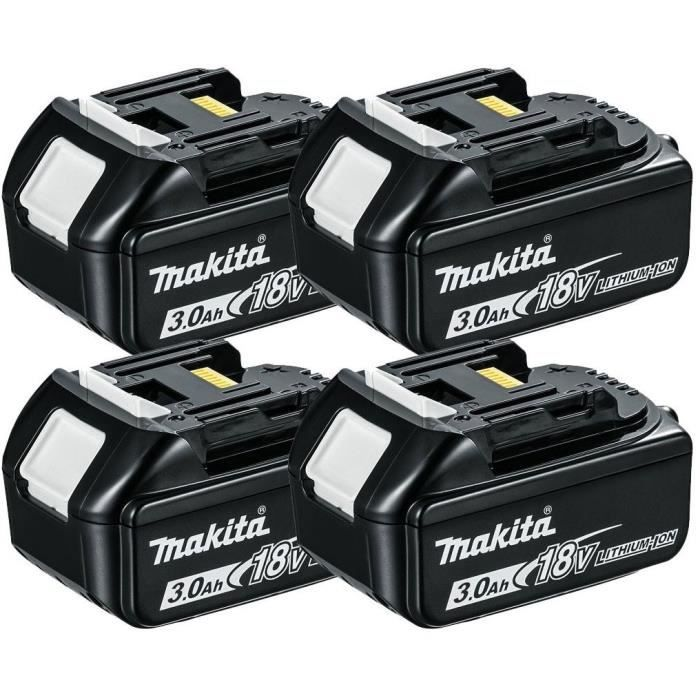 MAKITA Pack de 4 batteries BL1830B avec témoin de charge - 18 V 3Ah Li-ion