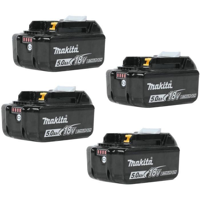 MAKITA Pack de 4 batteries BL1850B avec témoin de charge - 18 V 5Ah Li-ion