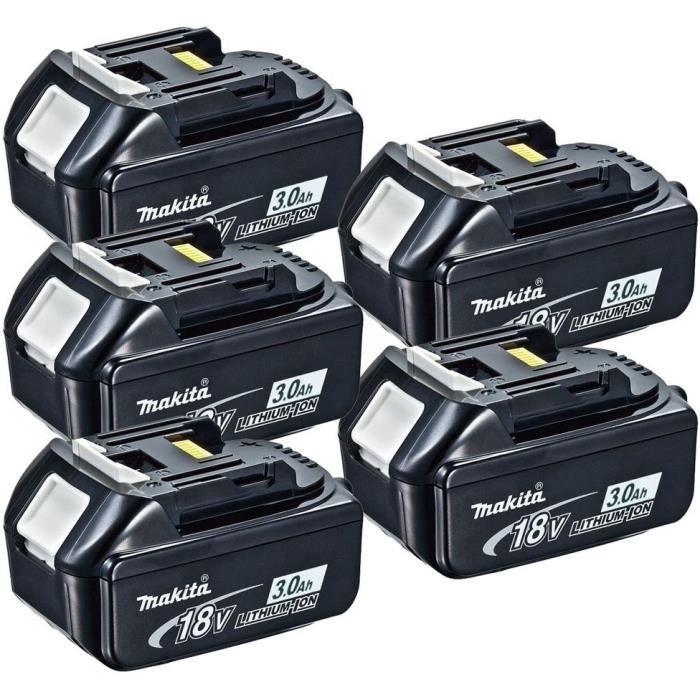 MAKITA Pack de 5 batteries BL1830B avec témoin de charge - 18 V 3Ah Li-ion