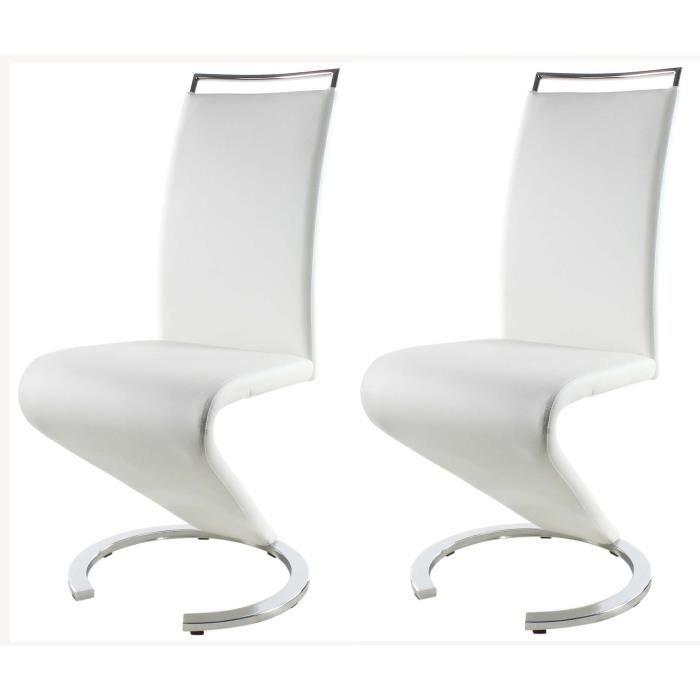 SIDNEY Lot de 2 chaises de salle à manger en méral - Revêtement en simili blanc - Contemporain - L 49,5 x P 61 cm